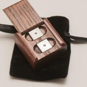 Luxor Premium Titanium alloy precision dice with oak puzzle box. Precision CNC machined balanced 16mm die sets