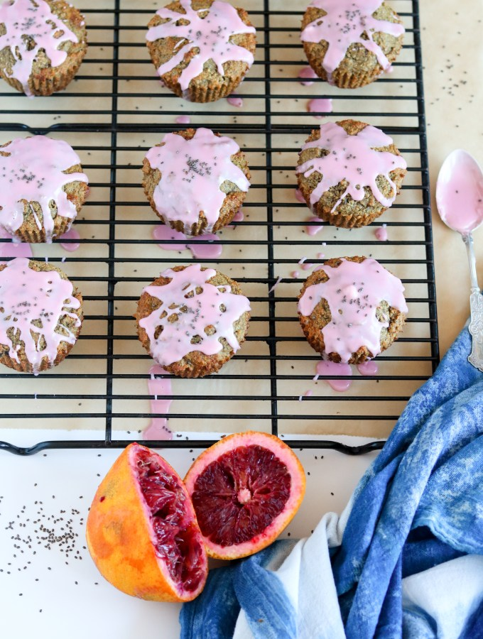 Glazed Blood Orange Chia Seed Muffins with Cardamom