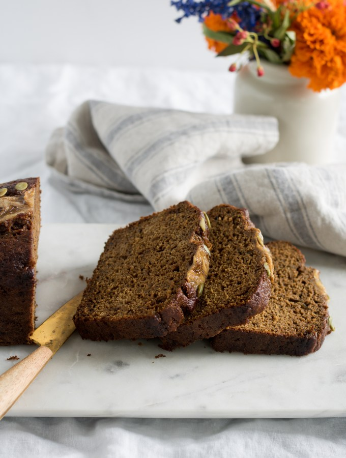 Pumpkin, Banana + Molasses Bread with Spelt Flour
