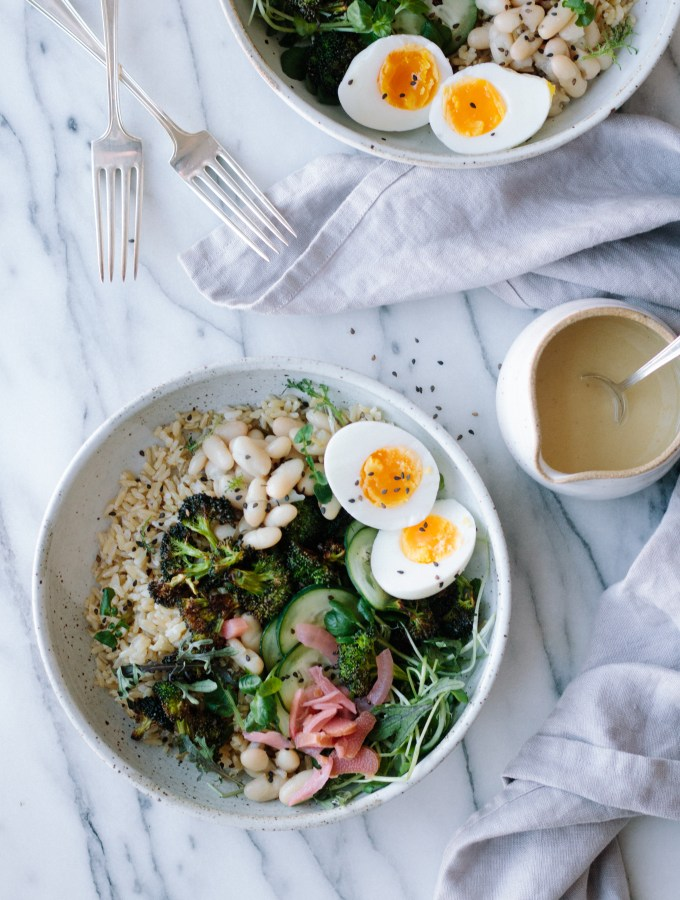 BROWN RICE + CHARRED BROCCOLI GRAIN BOWL WITH CUCUMBER, WHITE BEANS, EGG AND MISO DRESSING — warmandrosy.com