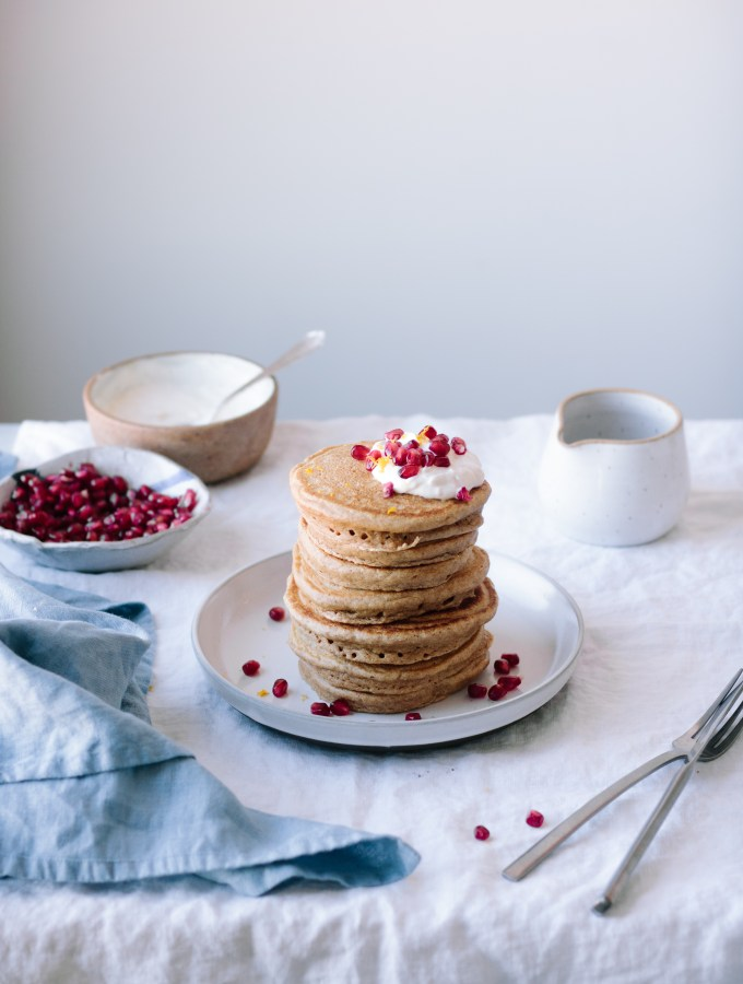 Cardamom Spiced Spelt and Almond Flour Pancakes + Orange-Vanilla Bean Yogurt and Pomegranate Seeds