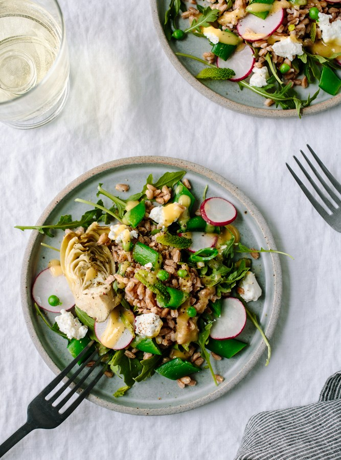 Spring Farro Salad with Arugula, Peas, Artichokes, Radishes, Mint, Goat Cheese + Roasted Shallot Dressing