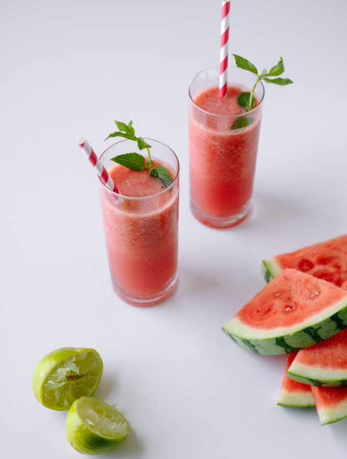 Watermelon + Strawberry Cooler with Coconut Water and Lime