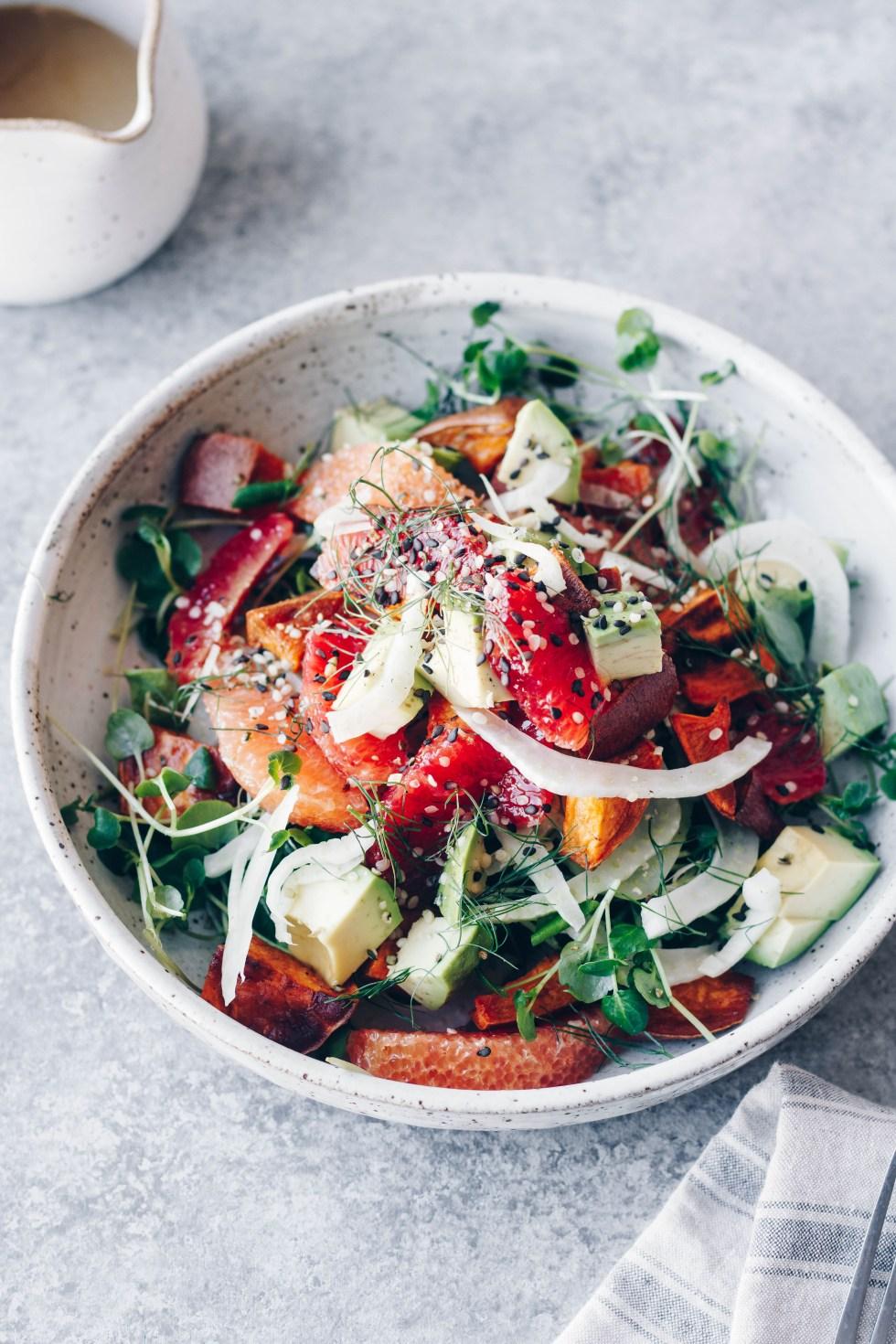 Orange, Fennel, Sweet Potato + Avocado Salad with Miso-Tahini Dressing — warmandrosy.com