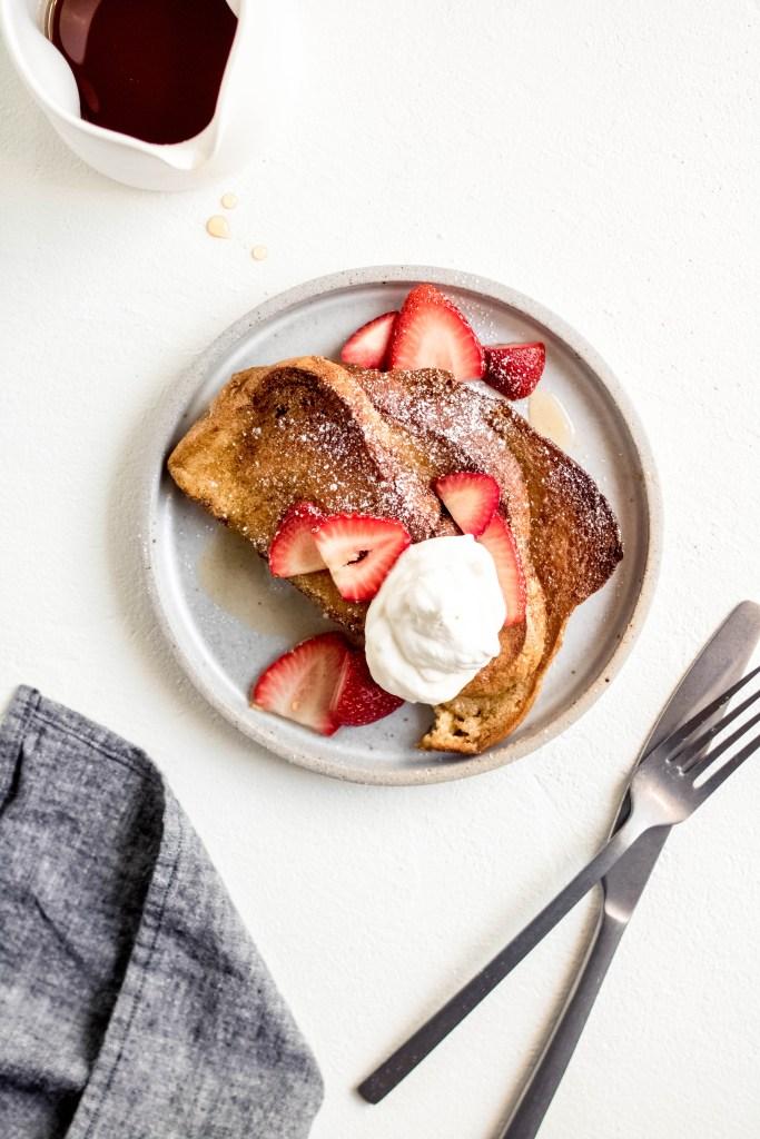 Baked Overnight French Toast with Orange, Cardamom + Strawberry — warmandrosy.com
