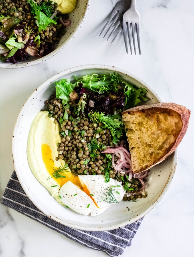 Marinated Lentils + Poached Eggs with Curried Yogurt