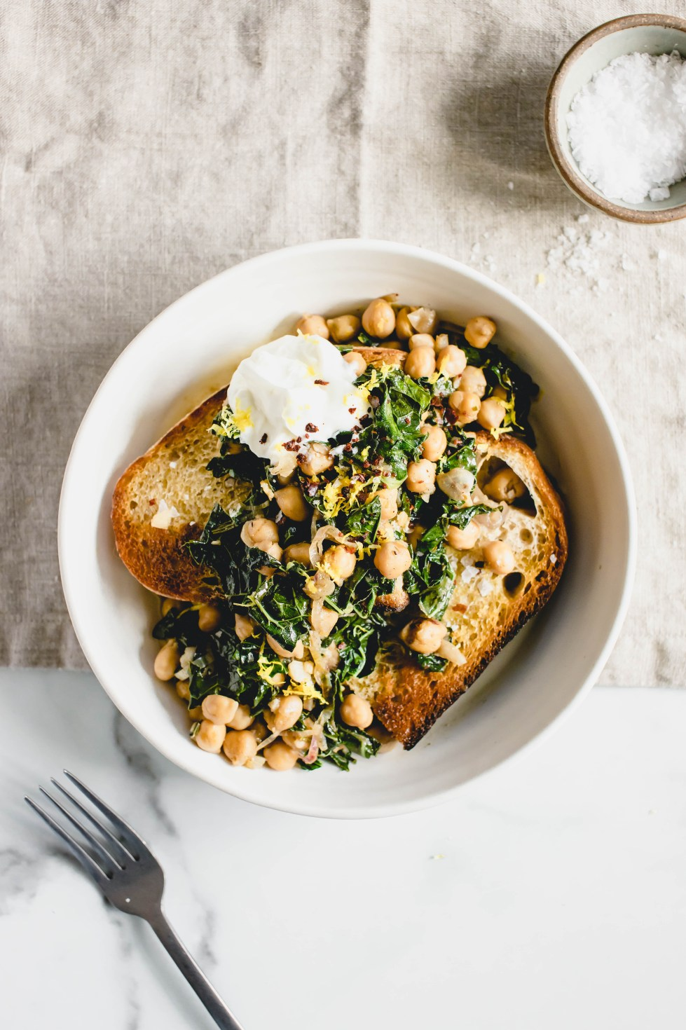 Masala Lemon Chickpeas + Kale on Toast — warmandrosy.com