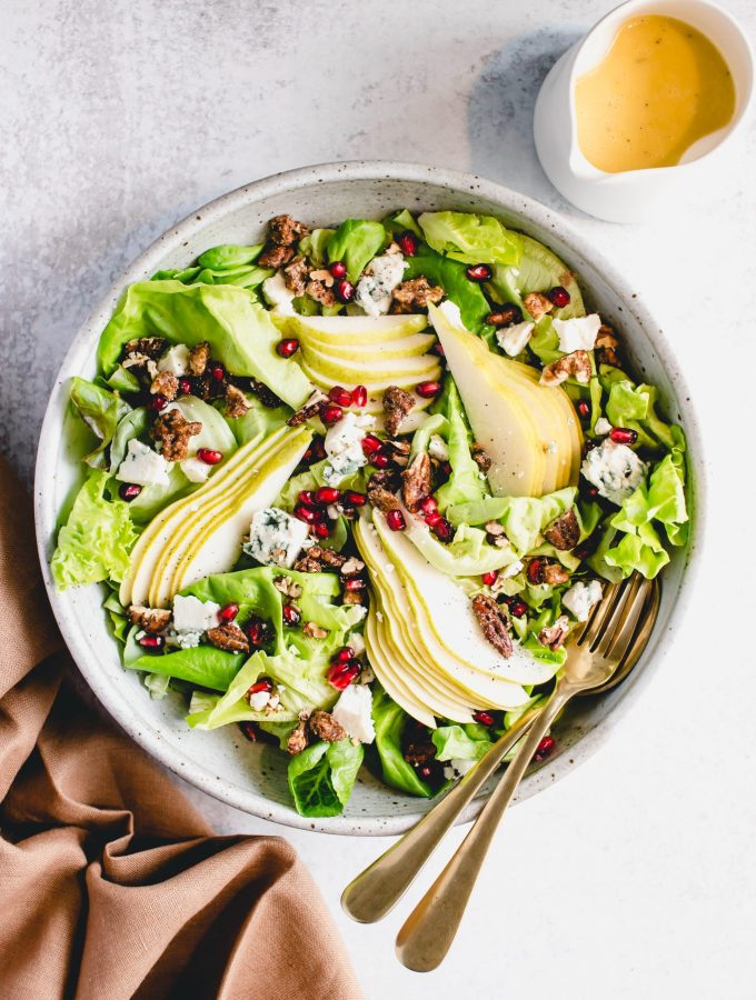 Pear, Blue Cheese and Pomegranate Salad — warmandrosy.com