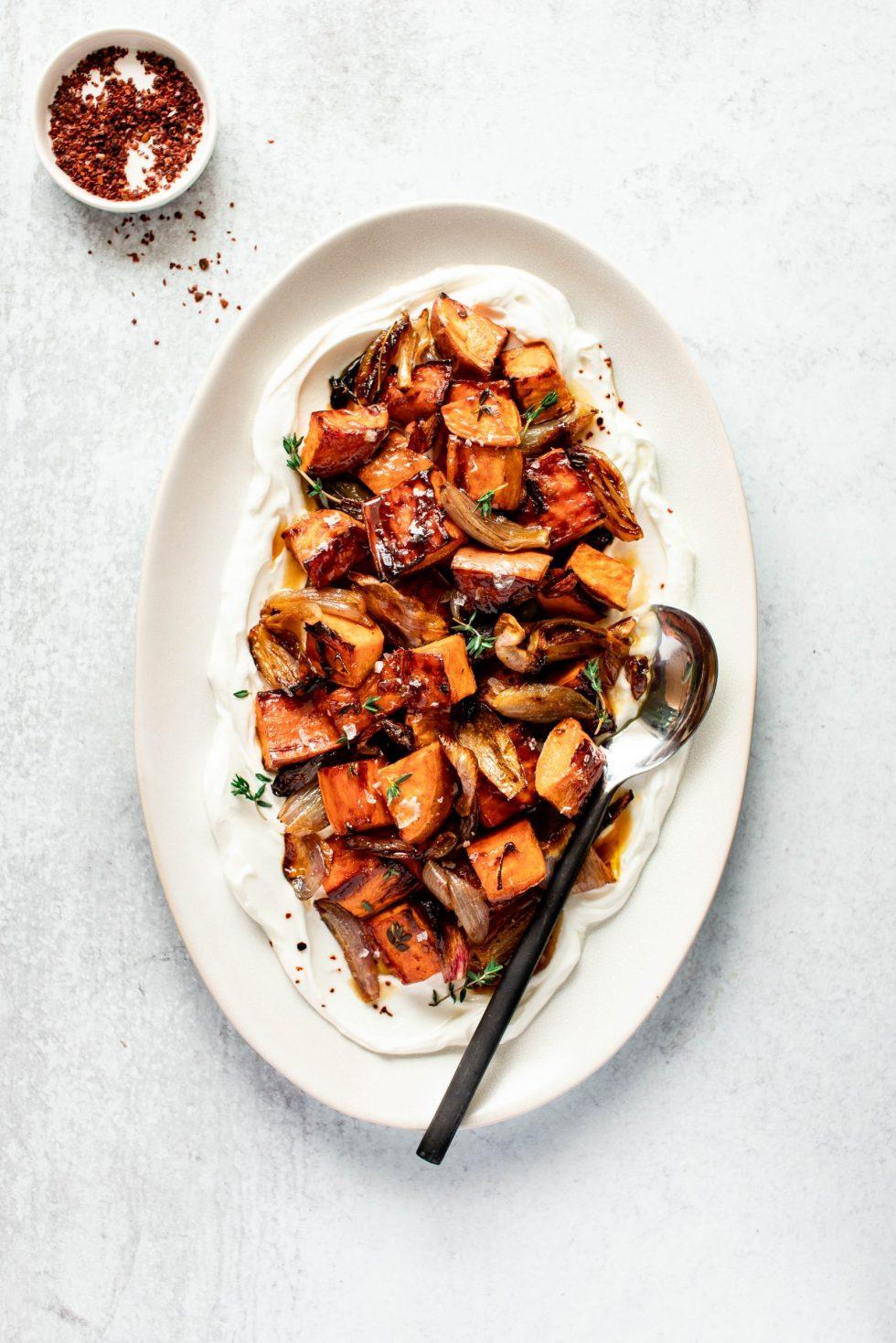 Balsamic Roasted Sweet Potatoes + Shallots with Yogurt — warmandrosy.com