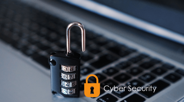 cyber security logo overlaying a laptop with a padlock.