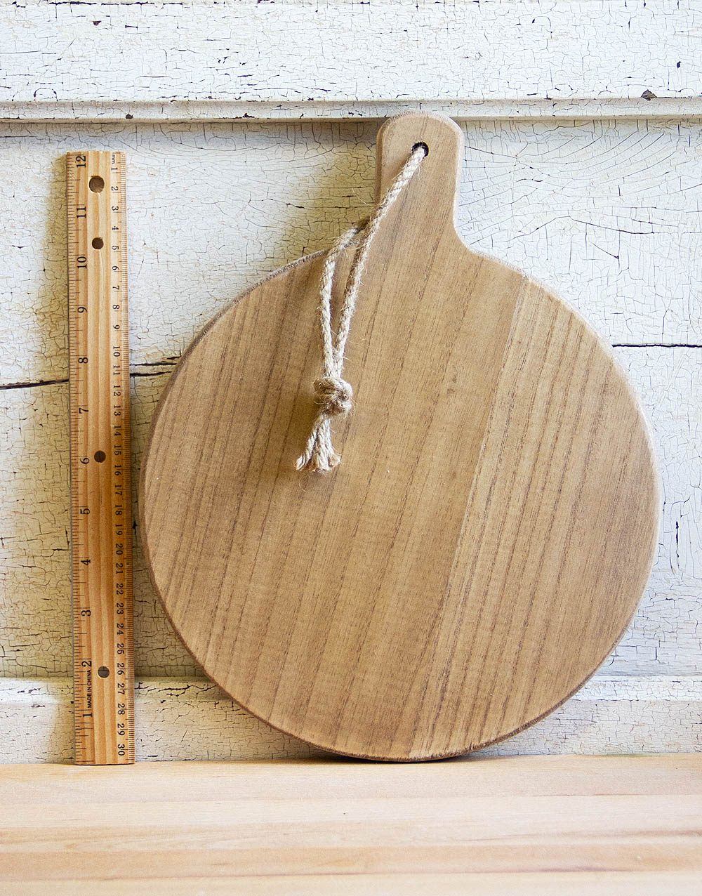 wood plate with ruler front