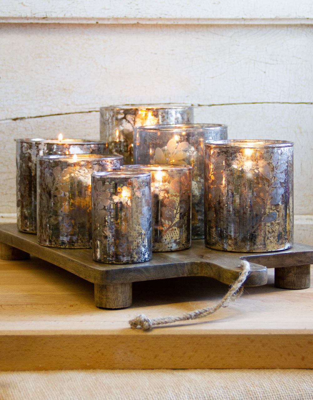 wood with glass-candles