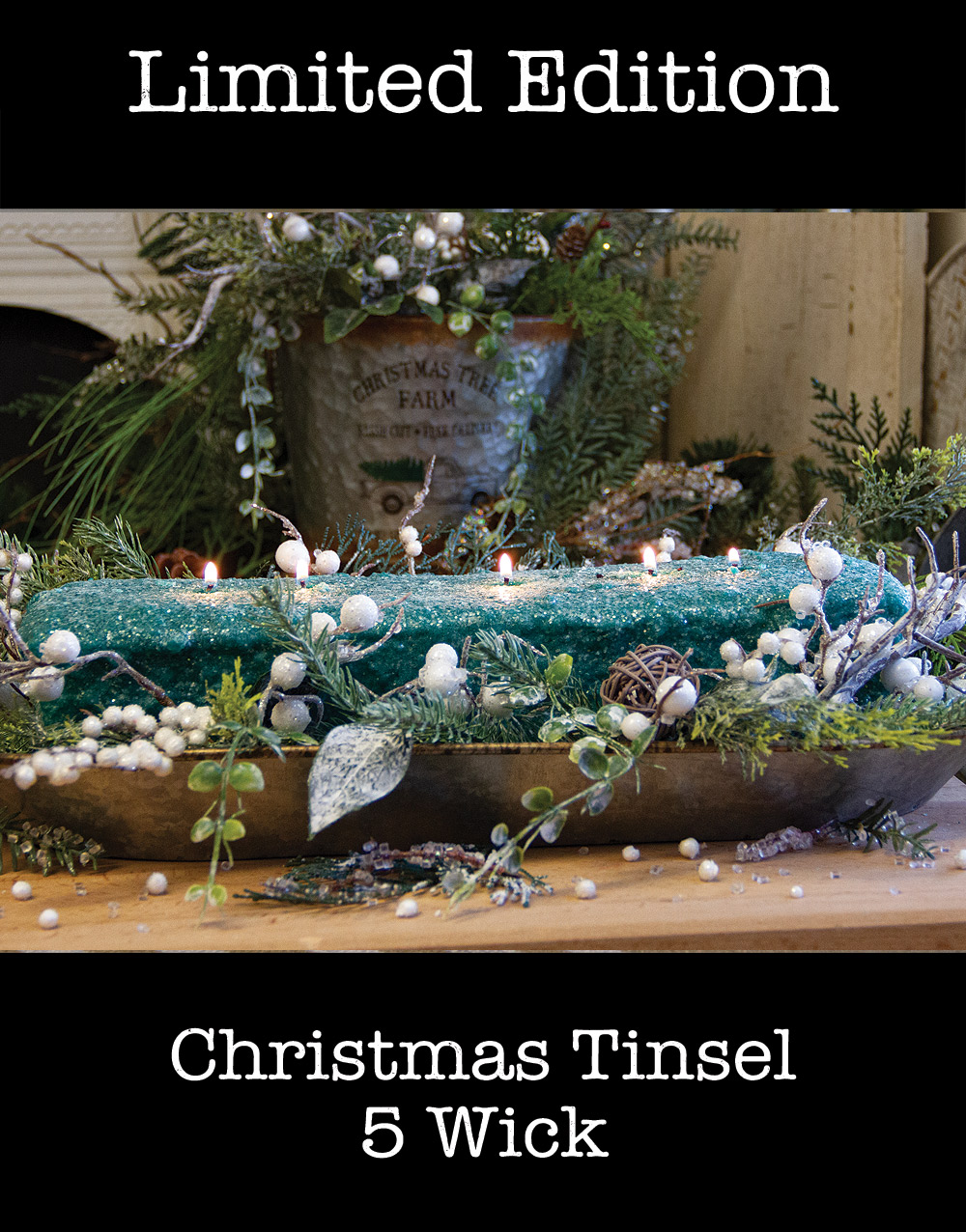 Holiday Edition 5 Wick Loaf Candle – Christmas Tinsel