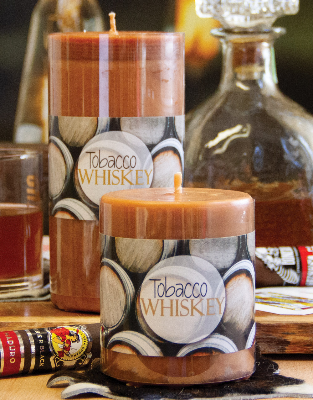 Aurora Pillar Candle – Tobacco Whiskey