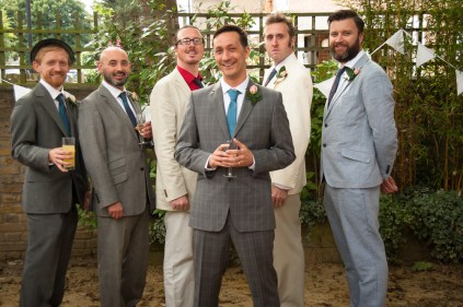 Groomsmen with the Groom at The Rosendale, Dulwich. Photographed by Anna Hindocha/Warm Glow Photo.