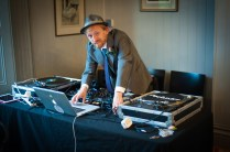 Wedding DJ setting up at The Rosendale, Dulwich. Photographed by Anna Hindocha/Warm Glow Photo.