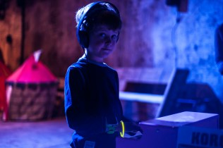 Young boy making music with a Korg at Big Fish Little Fish as part of the Mini Vault Festival, Waterloo. Photographed by Anna Hindocha/Warm Glow Photo