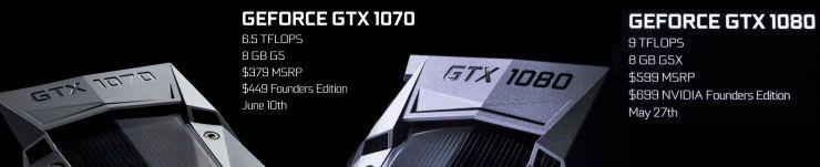 Nvidia caractéristiques GTX 1070 ET GTX 1080
