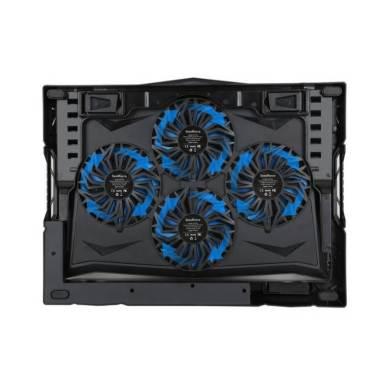 SEEDFORCE Refroidisseur Réglable pour Ordinateur Portable avec 4 Ventilateurs à LED Bleue pour PC Notebook/Laptop, équipé de 2 Ports USB, Adapté pour 12-17 pouces, pour l'Usage de la Maison et du Bureau