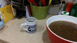 Enjoying bone broth for breakfast instead of coffee