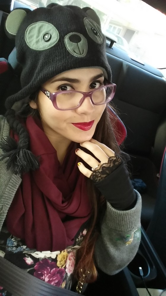 Here's me wearing my custom made fingerless Forgotten Cotton gloves and badass scarf. I am the definition of winter ready.