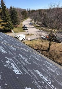 Roof replacement in process