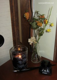 """A still life I put together for an over the top GACKT viewing party that I called """"Les Fleurs du Mal"""" (July 2011)"""