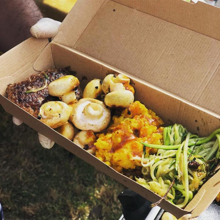 Dosa's have SOLD out! Raj from @albertskitchen_ has done a whip around the market and collected @watergrasshillangus rissoles, @thrivingfoodsfarm zucchini, delicious baby mushrooms along with his spicy organic Potato mixture – using Olive Twist olive oil & @weyhillfarmgarlic salt. Talk about 100% WFM ingredients