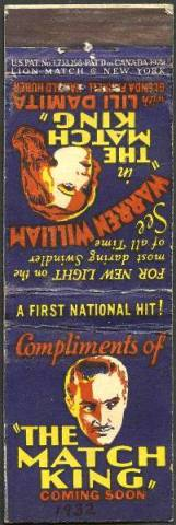 Great ephemera! Matchbook advertising The Match King, what a natural tie-in!