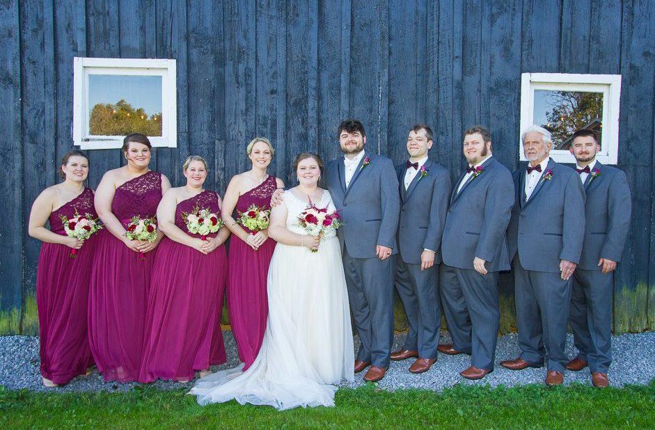 Wedding party portrait by Warrenwood barn