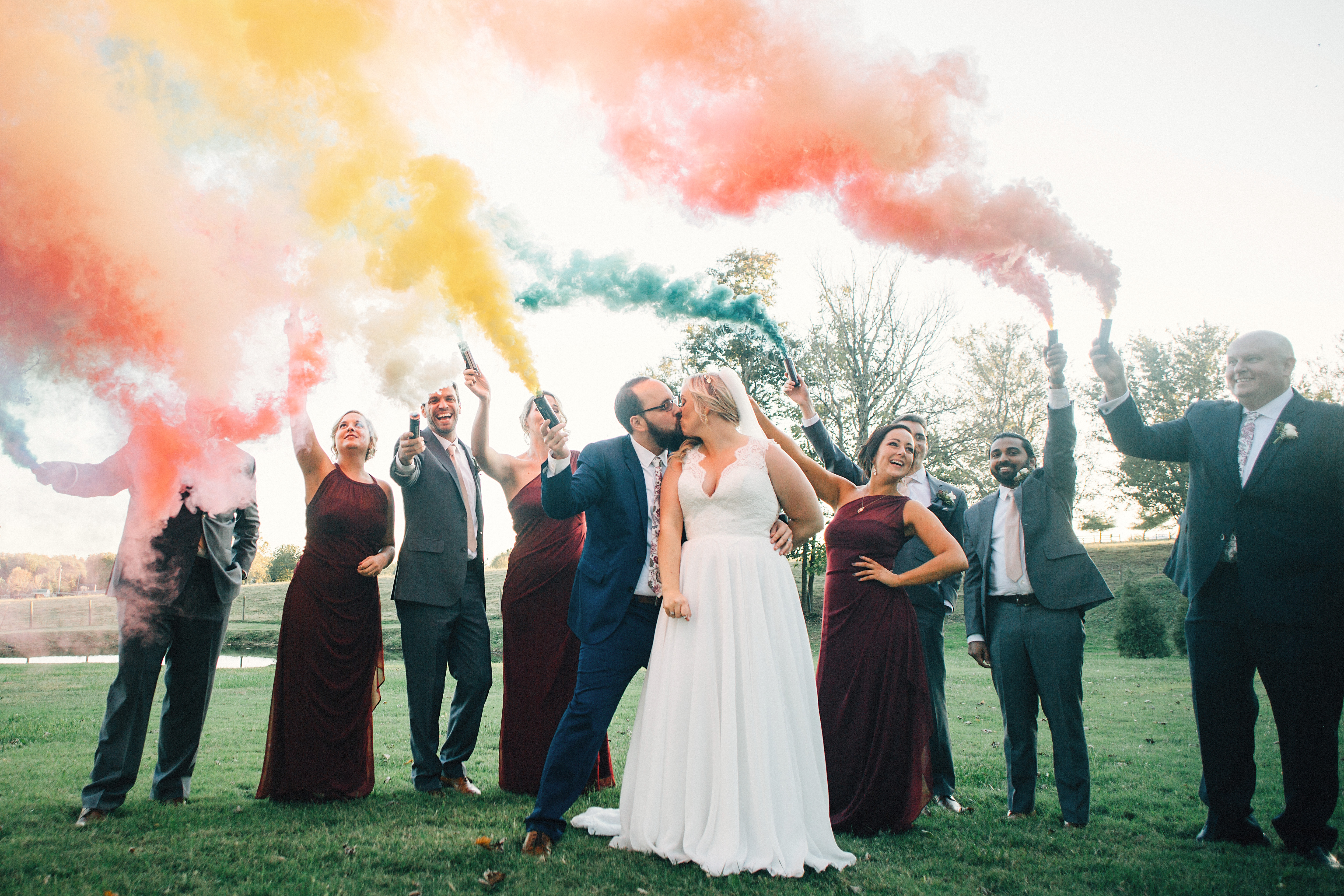 Wedding Party with Color Bombs