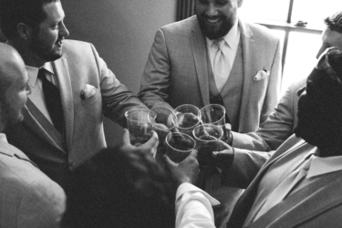 Groomsmen celebrating at Warrenwood Manor