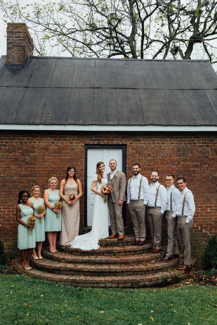 Southern Vintage Wedding Party on Warrenwood Cottage Steps