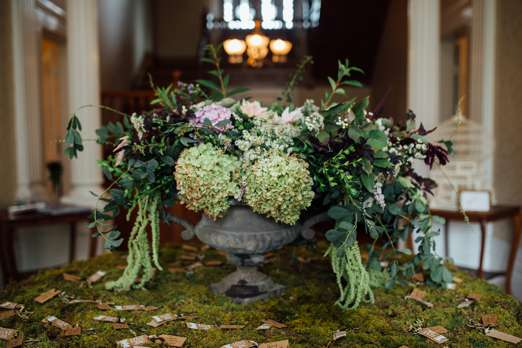 Flocal floral arrangement in center hall at Warrenwood Manor