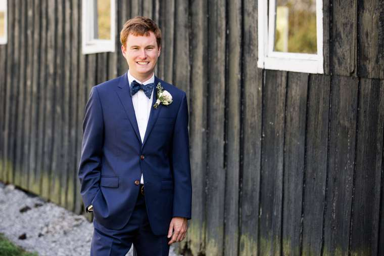 Classic Southern Groom in Navy and white with polka dot bow tie