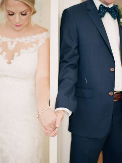 Prayer before classic southern wedding ceremony