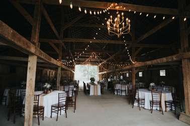 Rustic country barn wedding reception at Kentucky wedding venue