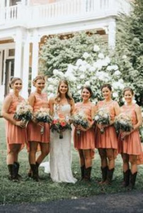 Coral bridesmaid dresses, Photo by Rainwater Photography
