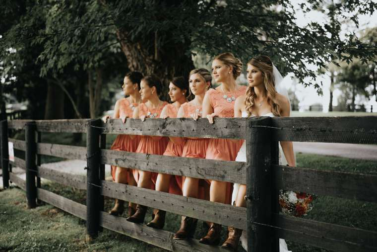 Rustic country bridal party portrait at farm wedding in central Kentucky