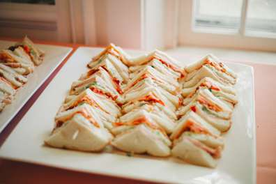 Sandwiches served during wedding reception at Warrenwood Manor