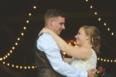 Bride & Groom first dance during barn reception