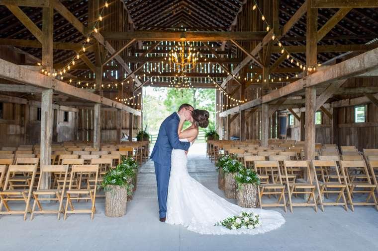 Bride & Groom in Warrenwood Manor Barn, Refined Rustic