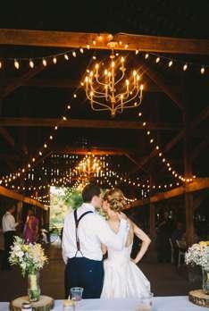 Bride & Groom during barn reception
