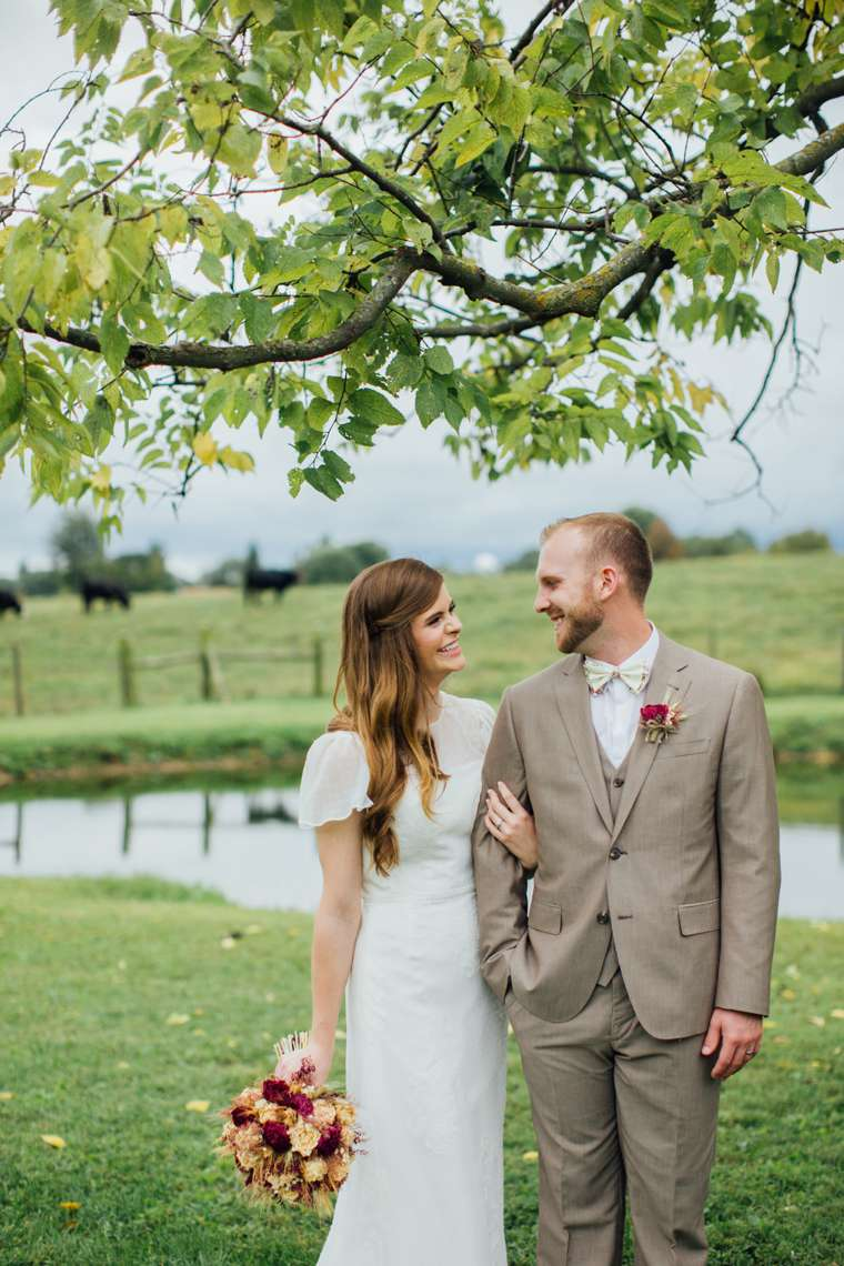 Bride and Groom on a Kentucky cattle farm