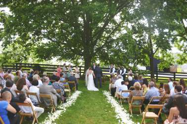 Outdoor ceremony under a large tree with flower petal lined aisle