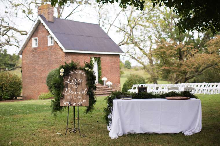 Guestbook and wedding sign in backyard for wedding