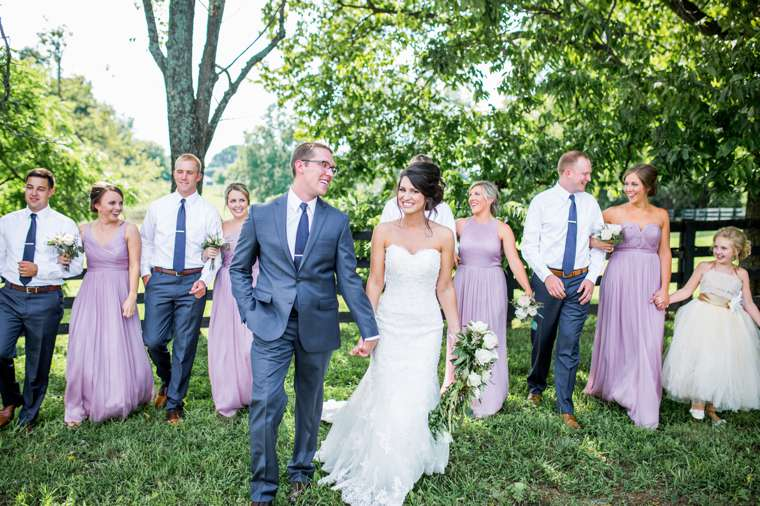 Wedding party in navy, purple and ivory