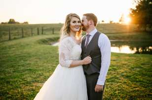 Bride & Groom at sunset during fall Kentucky wedding
