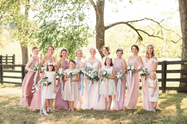 Blush flowy bridal party
