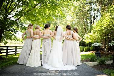 Champagne bridesmaid dresses at outdoor wedding in central Kentucky